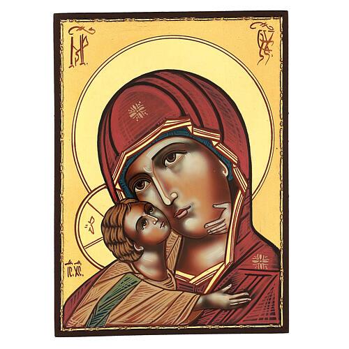 Icona Madonna Tenerezza Vladimirskaja 30x25 cm rumena dipinta 1