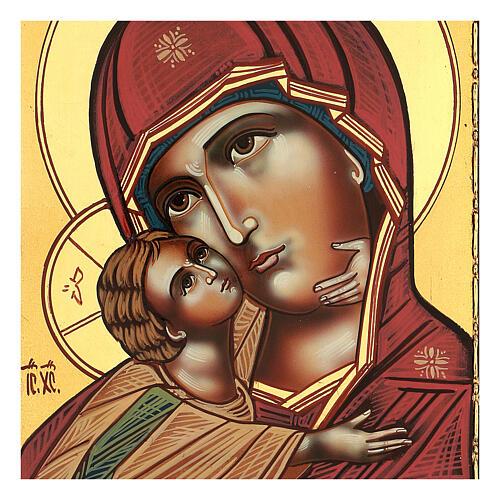 Icona Madonna Tenerezza Vladimirskaja 30x25 cm rumena dipinta 2