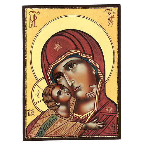 Icon Mother of God Tenderness Vladimirskaya, 30x25 cm Romanian painted 1