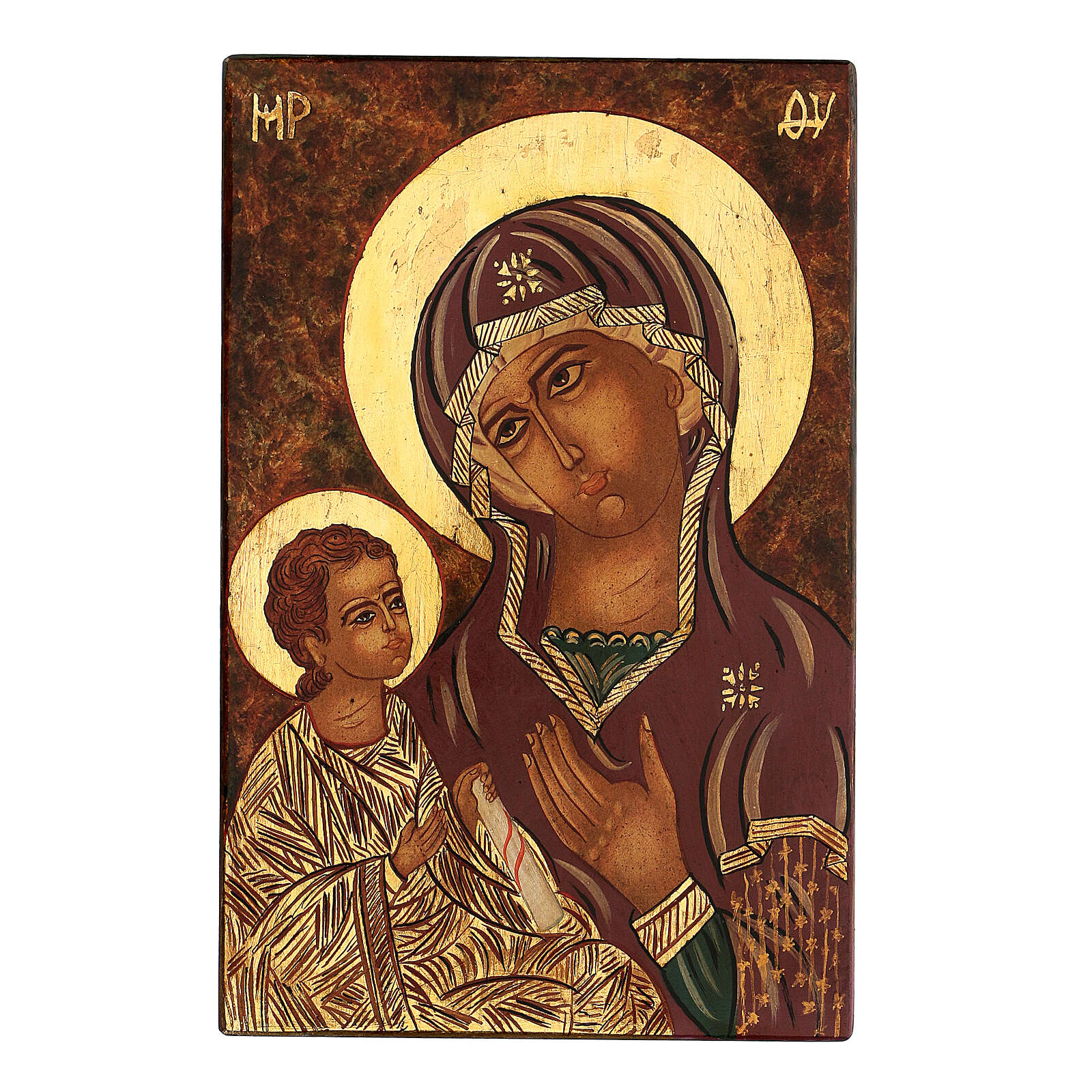 Icon Madonna Gruzinskaya, 30x20 cm painted Romania 4