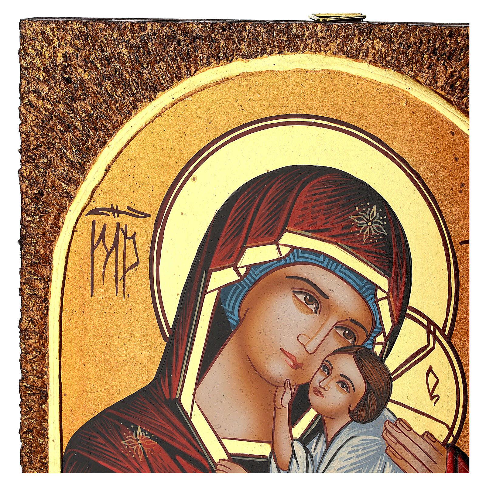 Icona Madre di Dio Jaroslavskaja 30x20 cm Romania dipinta 4