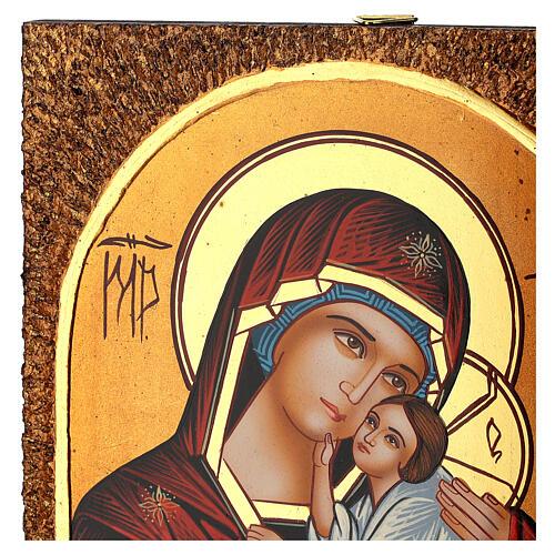 Icona Madre di Dio Jaroslavskaja 30x20 cm Romania dipinta 3