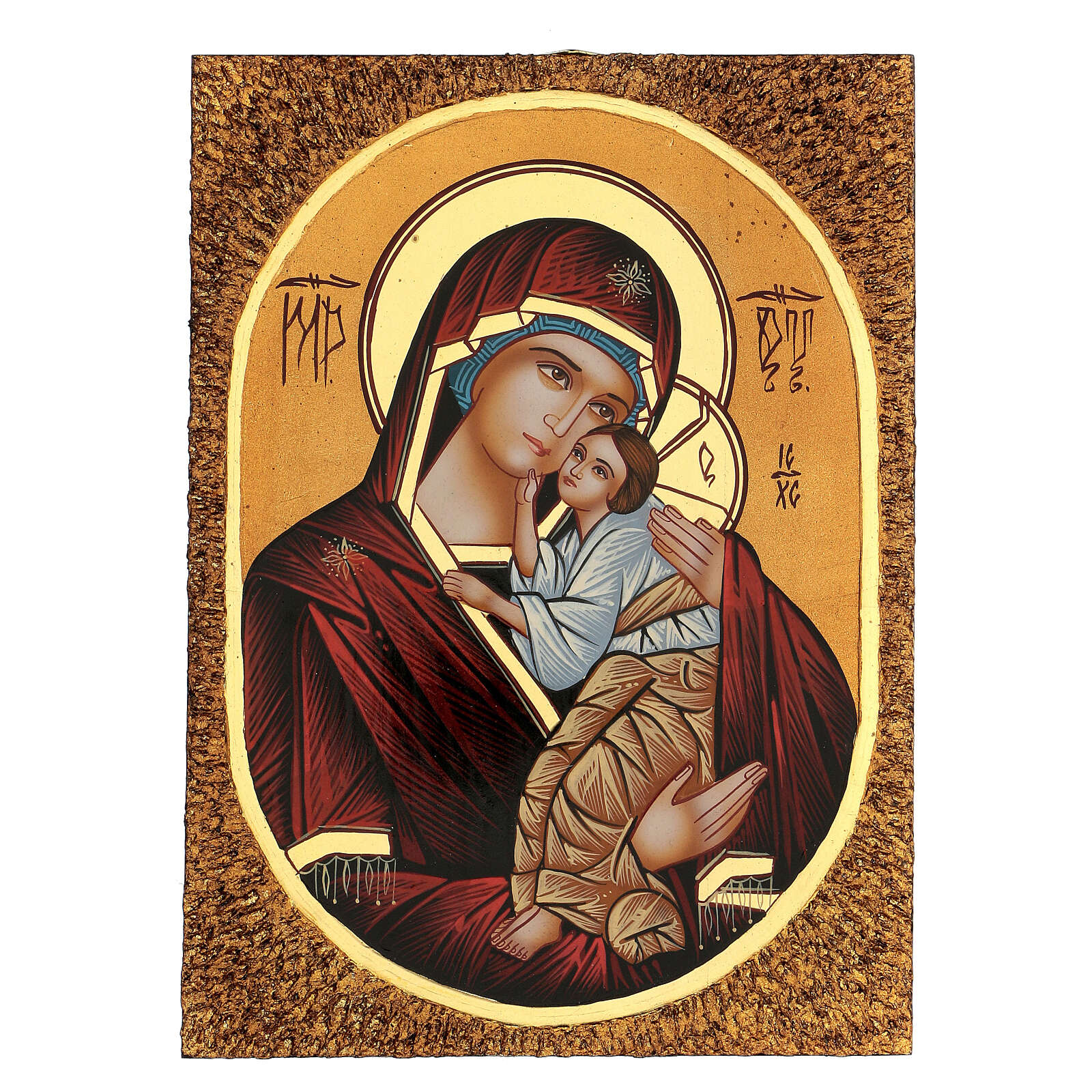 Icon Mother of God Yaroslavskaya, 30x20 cm painted Romania 4