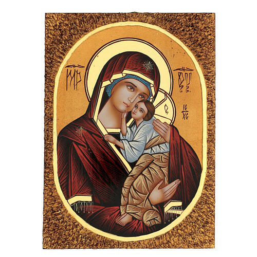 Icon Mother of God Yaroslavskaya, 30x20 cm painted Romania 1