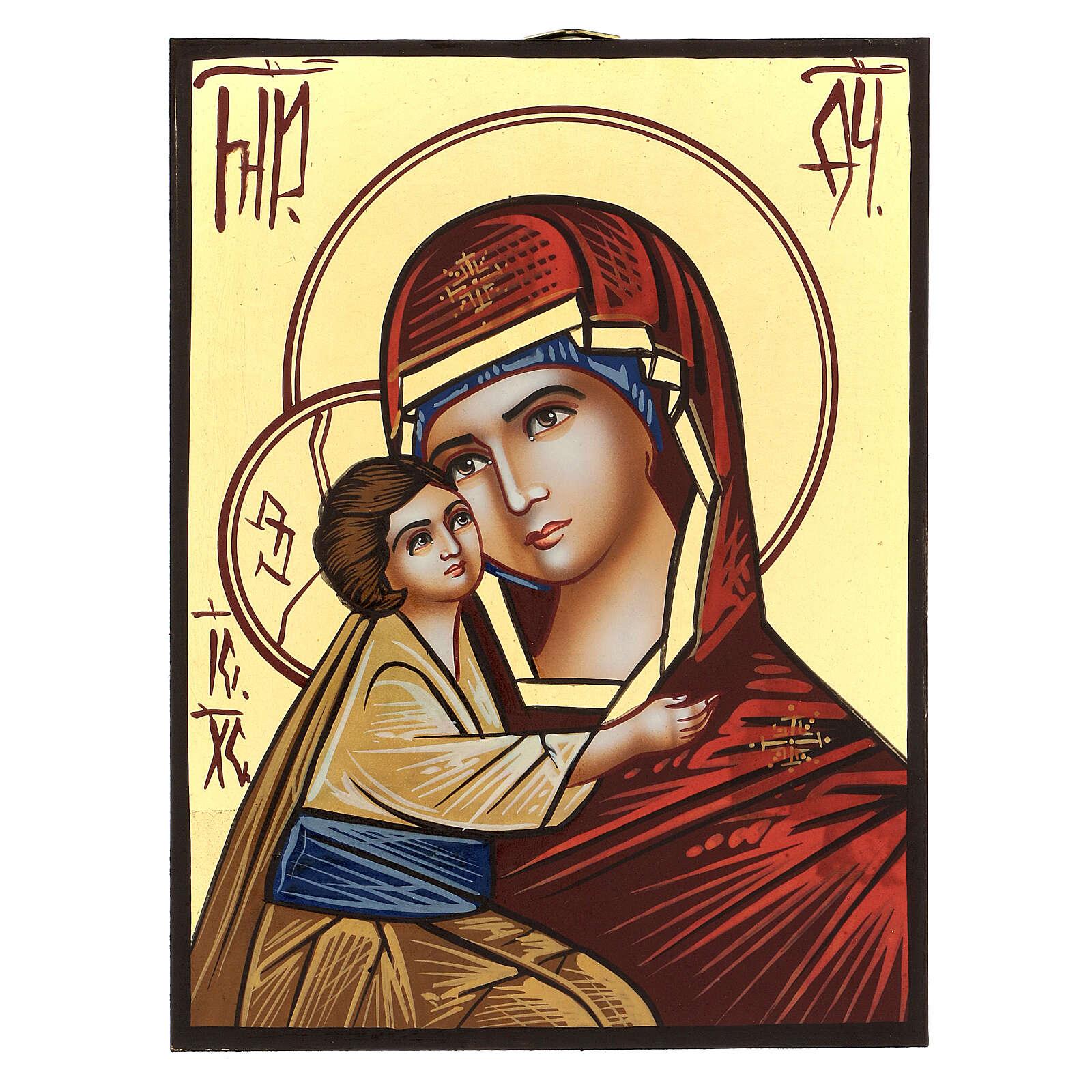 Icona Madre di Dio Donskaja dipinta a mano Romania 18x14 cm 4