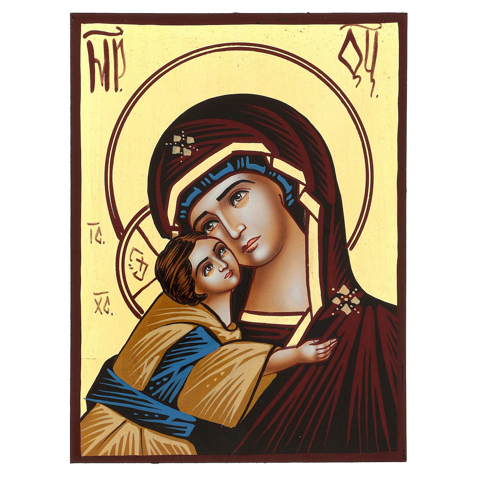 Icône Mère de Dieu du Donskaï Roumanie peinte à la main 18x14 cm 4
