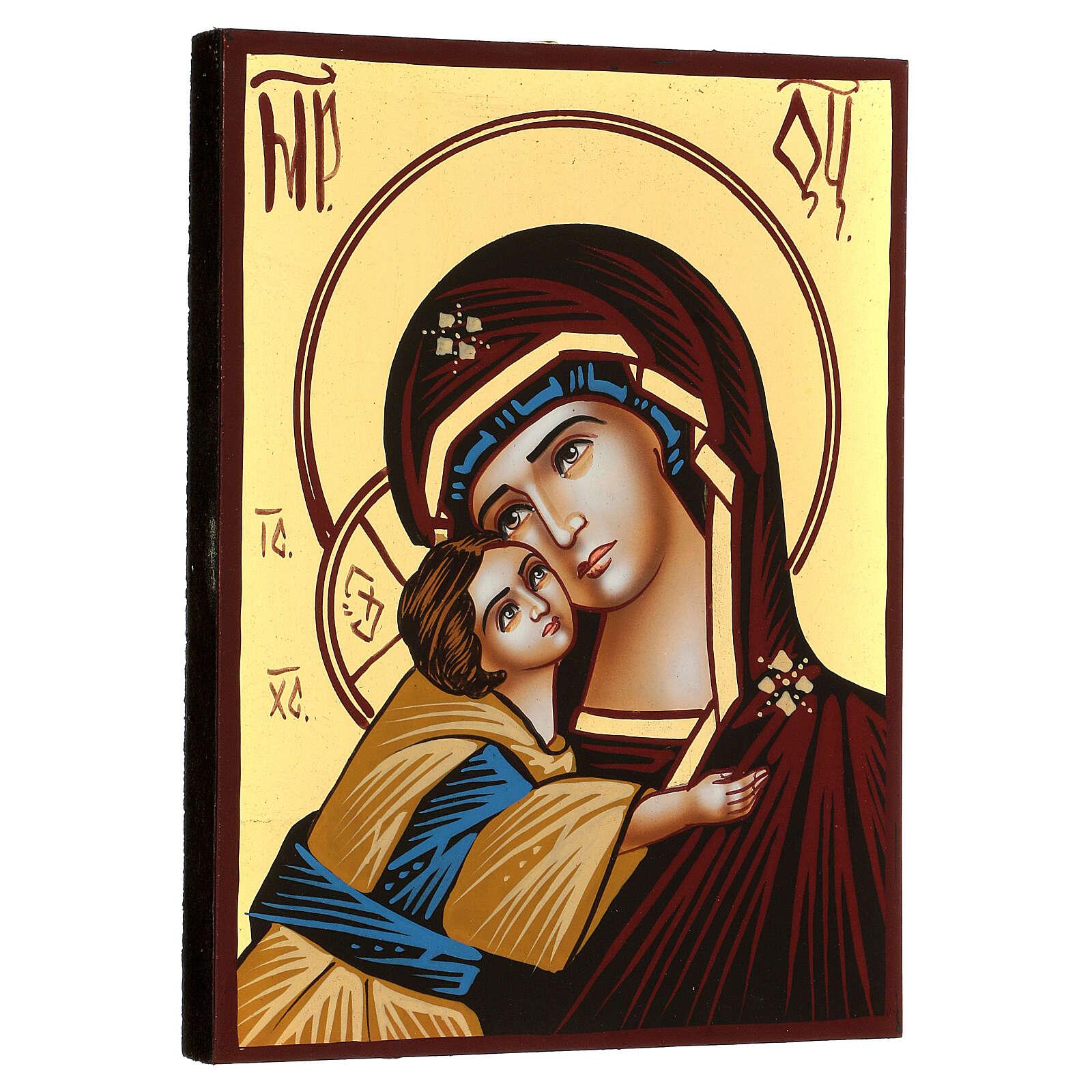 Icona Madre di Dio Donskaja rumena dipinta a mano 18x14 cm 4