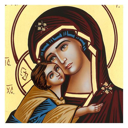 Icona Madre di Dio Donskaja rumena dipinta a mano 18x14 cm 2