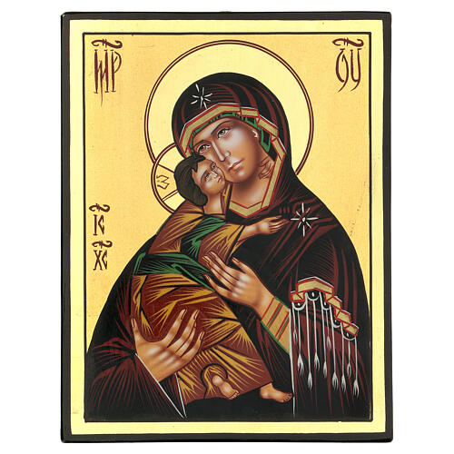 Icona Madonna Tenerezza Vladimirskaja 24x18 cm Romania dipinta 1