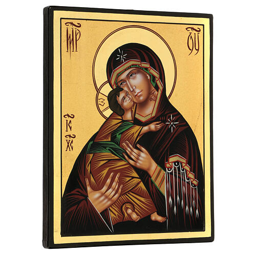 Icona Madonna Tenerezza Vladimirskaja 24x18 cm Romania dipinta 3