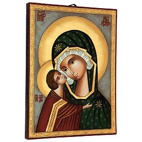 Icona Madre di Dio Donskaja dipinta Romania 30x25 cm s3