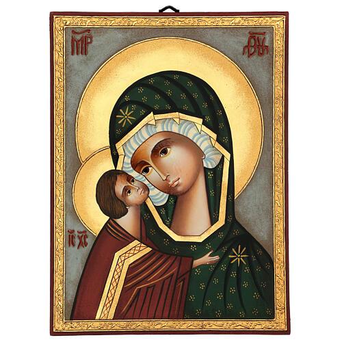 Icona Madre di Dio Donskaja dipinta Romania 30x25 cm 1