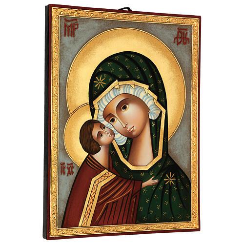 Icona Madre di Dio Donskaja dipinta Romania 30x25 cm 3