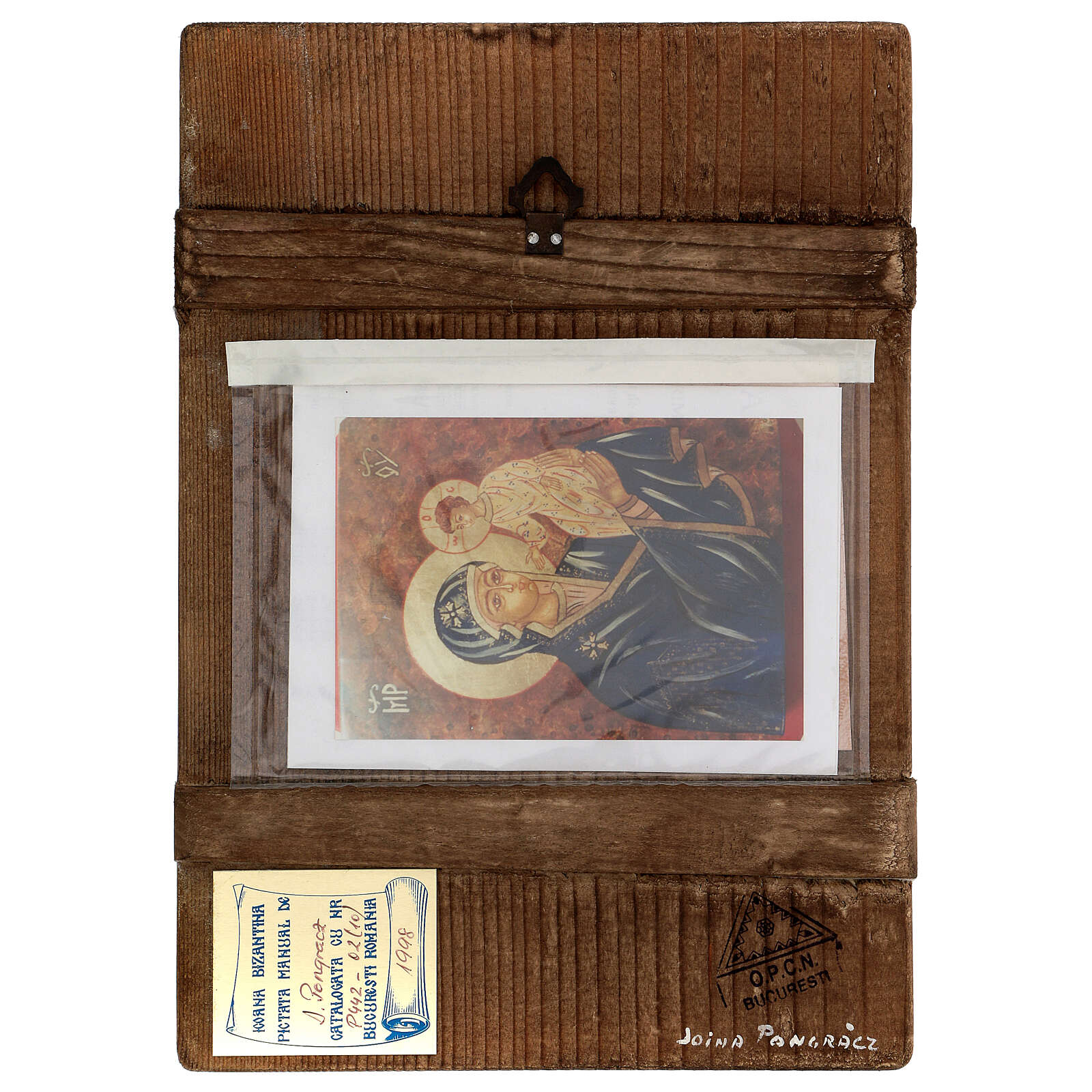 Icona Madre di Dio con Bambino Romania sfondo oro dipinta a mano 30x20 cm 4
