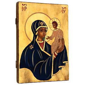 Icona Madre di Dio con Bambino Romania sfondo oro dipinta a mano 30x20 cm s3