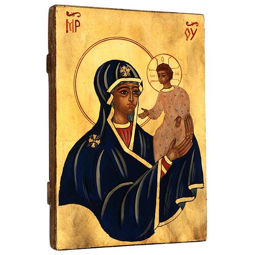 Icona Madre di Dio con Bambino Romania sfondo oro dipinta a mano 30x20 cm 3