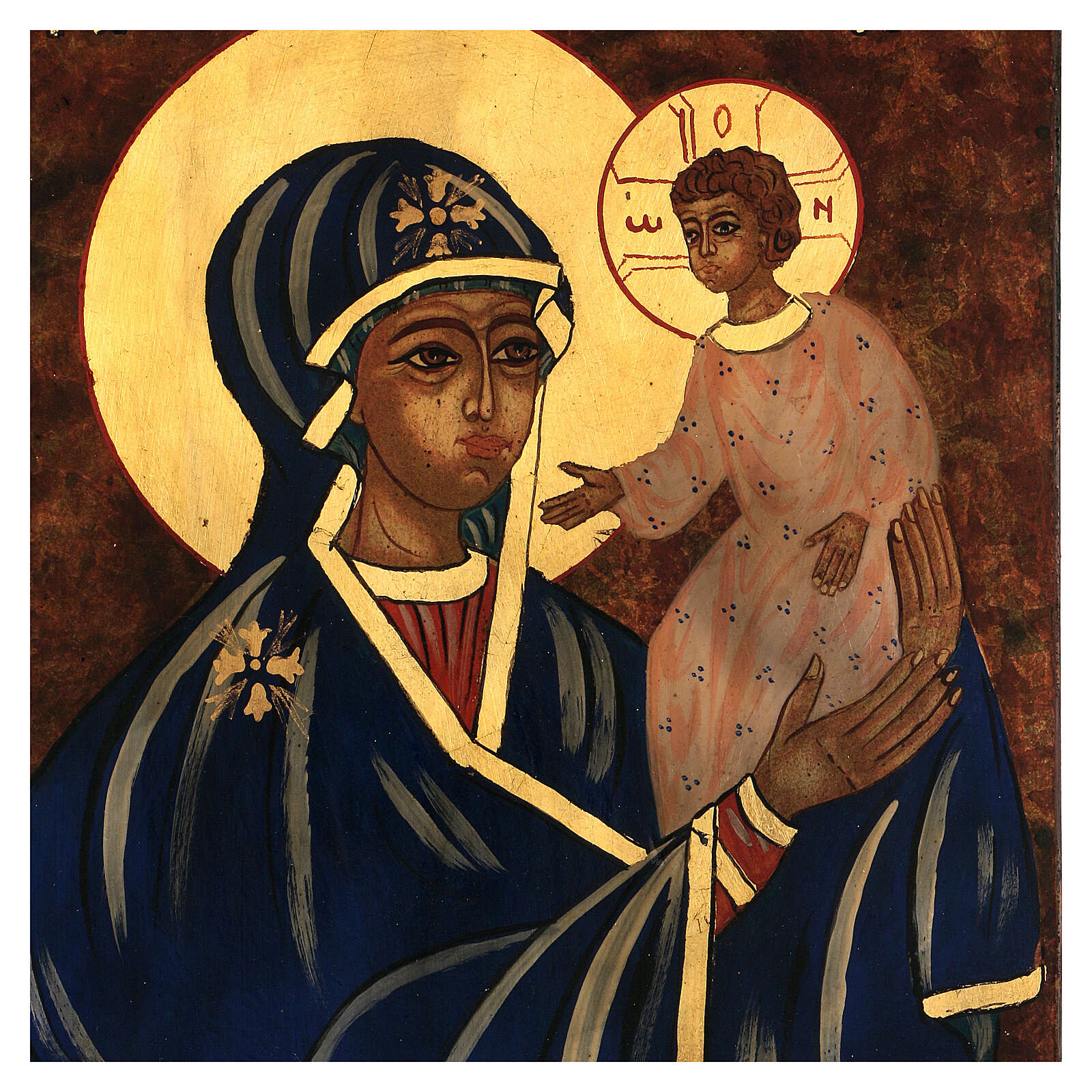 Icona Madre di Dio con Bambino dipinta a mano Romania 30x20 cm 4