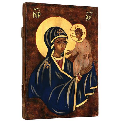 Icona Madre di Dio con Bambino dipinta a mano Romania 30x20 cm 3