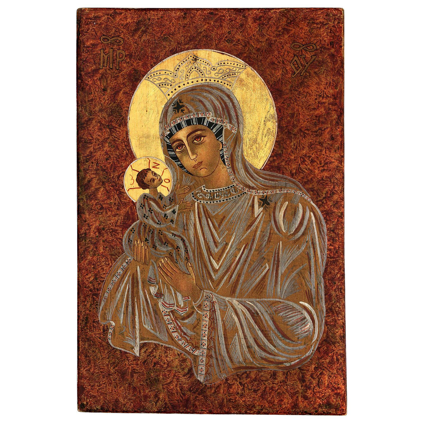 Icona Madre di Dio Muromskaja Romania dipinta a mano 30x20 cm 4