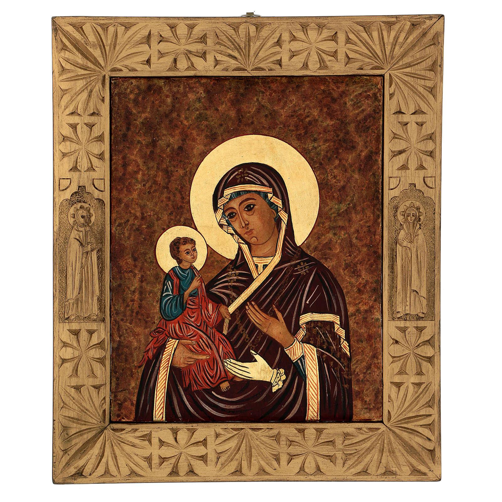 Icona Madre di Dio delle Tre Mani dipinta Romania 40x30 cm 4