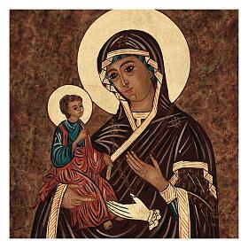 Icona Madre di Dio delle Tre Mani dipinta Romania 40x30 cm s2