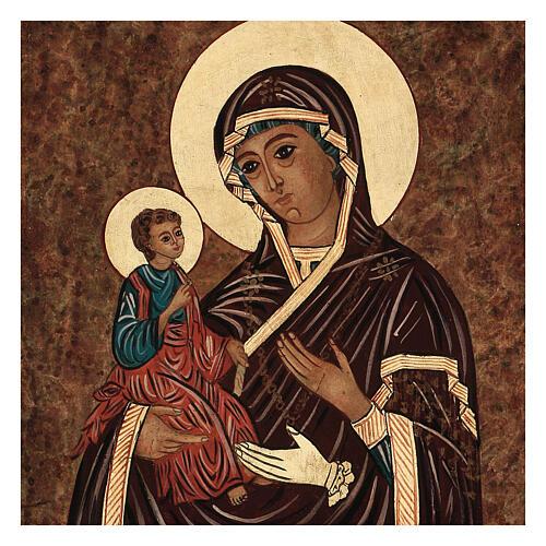 Icona Madre di Dio delle Tre Mani dipinta Romania 40x30 cm 2