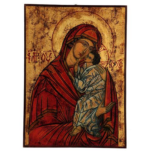 Ícone Nossa Senhora Mãe de Deus Jaroslavskaya efeito antigo Roménia, 40x29 cm