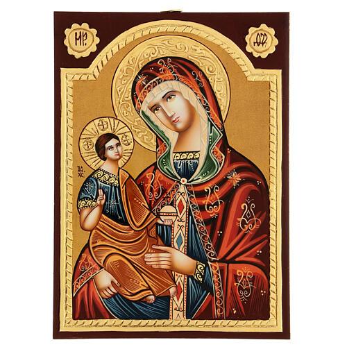 Ícone Nossa Senhora Mãe de Deus Hodegétria Roménia com relevos, 29x21 cm