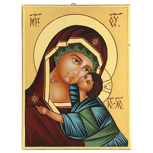 Icona Madre di Dio Vladimirskaja rumena dipinta a mano 24x18 1