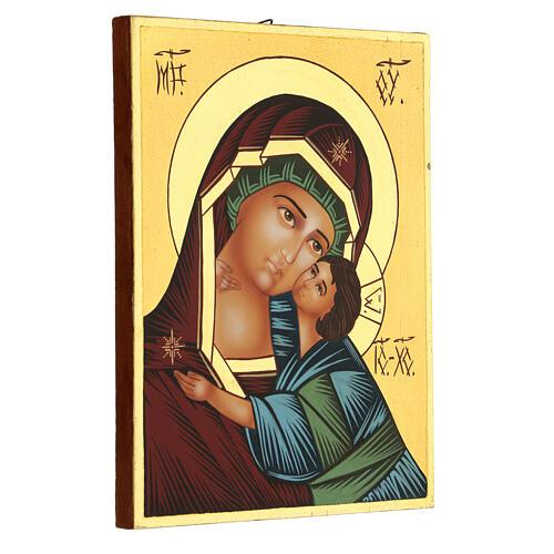Icona Madre di Dio Vladimirskaja rumena dipinta a mano 24x18 3