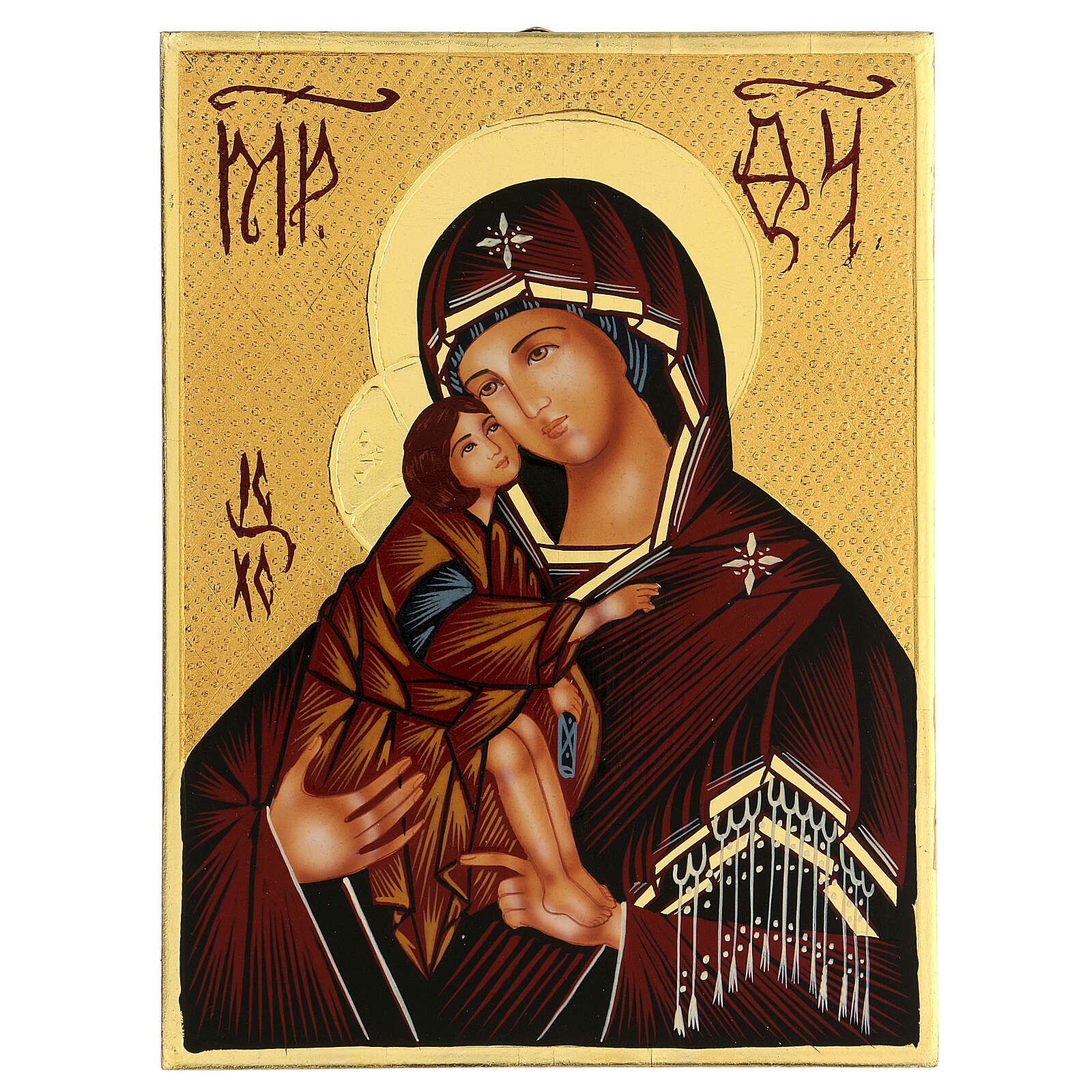 Icona Madre di Dio Donskaja Romania dipinta 24x18 cm 4