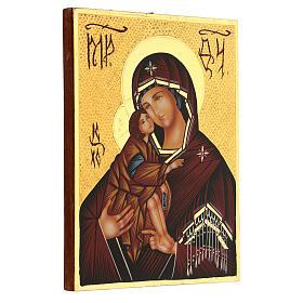 Icona Madre di Dio Donskaja Romania dipinta 24x18 cm s3