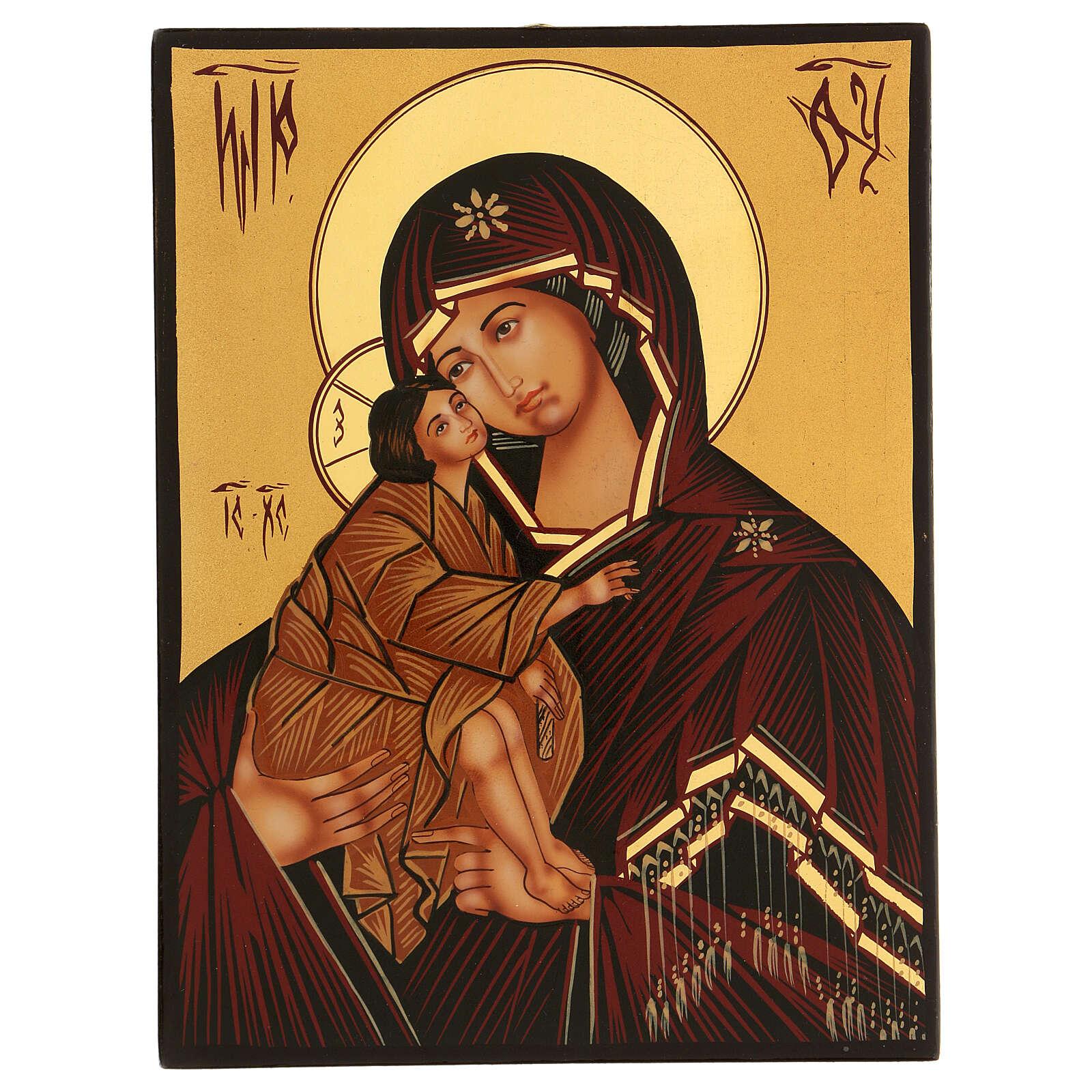 Icona Madre di Dio Donskaja rumena dipinta a mano 24x18 4