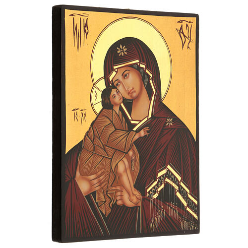 Icona Madre di Dio Donskaja rumena dipinta a mano 24x18 3