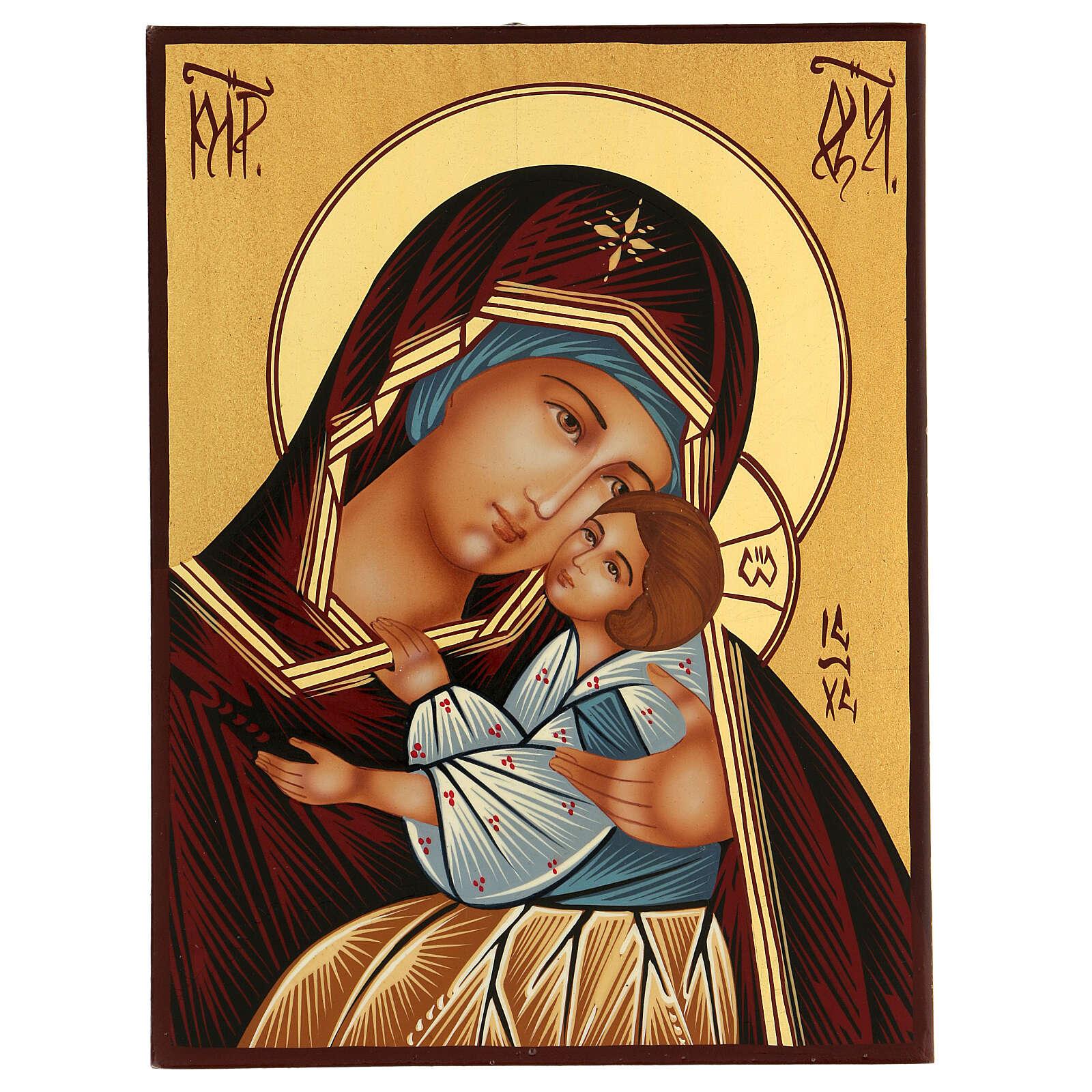 Icona Madre di Dio Kievo Bratskaja rumena dipinta a mano 24x18 4