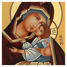 Icona Madre di Dio Kievo Bratskaja rumena dipinta a mano 24x18 s2