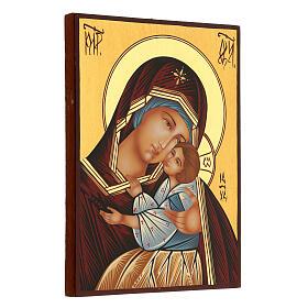 Icona Madre di Dio Kievo Bratskaja rumena dipinta a mano 24x18 s3
