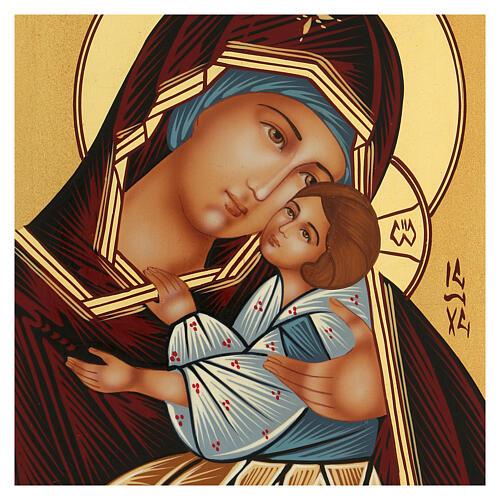 Icona Madre di Dio Kievo Bratskaja rumena dipinta a mano 24x18 2