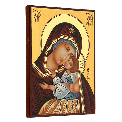Icona Madre di Dio Kievo Bratskaja rumena dipinta a mano 24x18 3