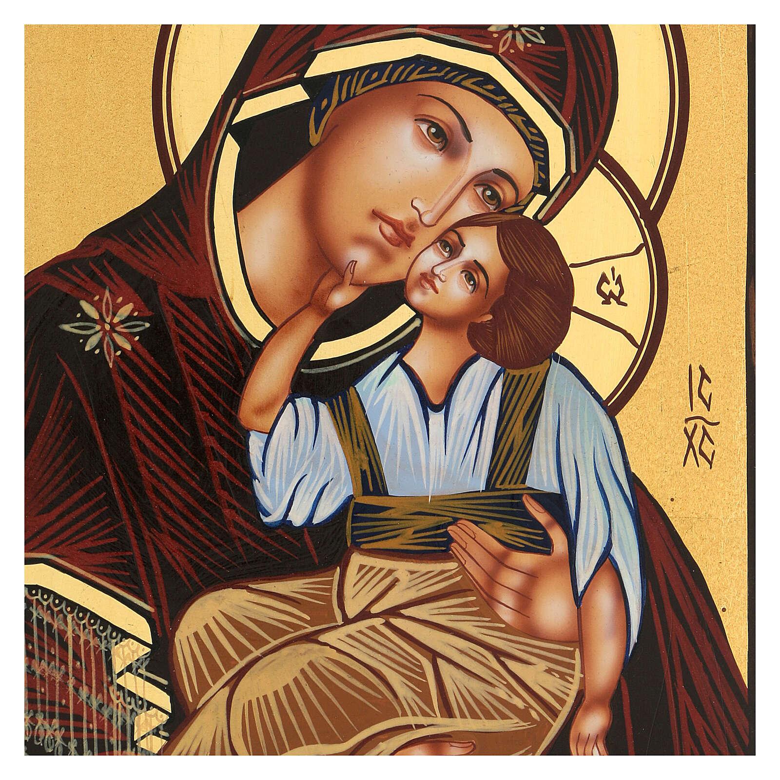 Icona Madre di Dio Jaroslavskaja rumena dipinta a mano 24x18 4