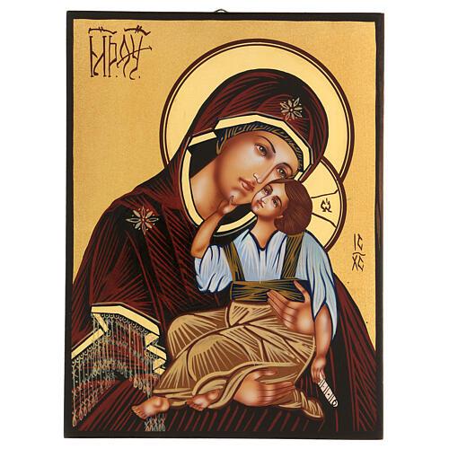 Icona Madre di Dio Jaroslavskaja rumena dipinta a mano 24x18 1