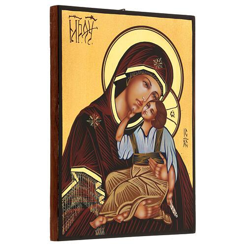 Icona Madre di Dio Jaroslavskaja rumena dipinta a mano 24x18 3