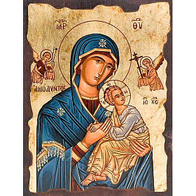 Iconos Pintados Grecia: Madre de Dios de la pasión manto azul
