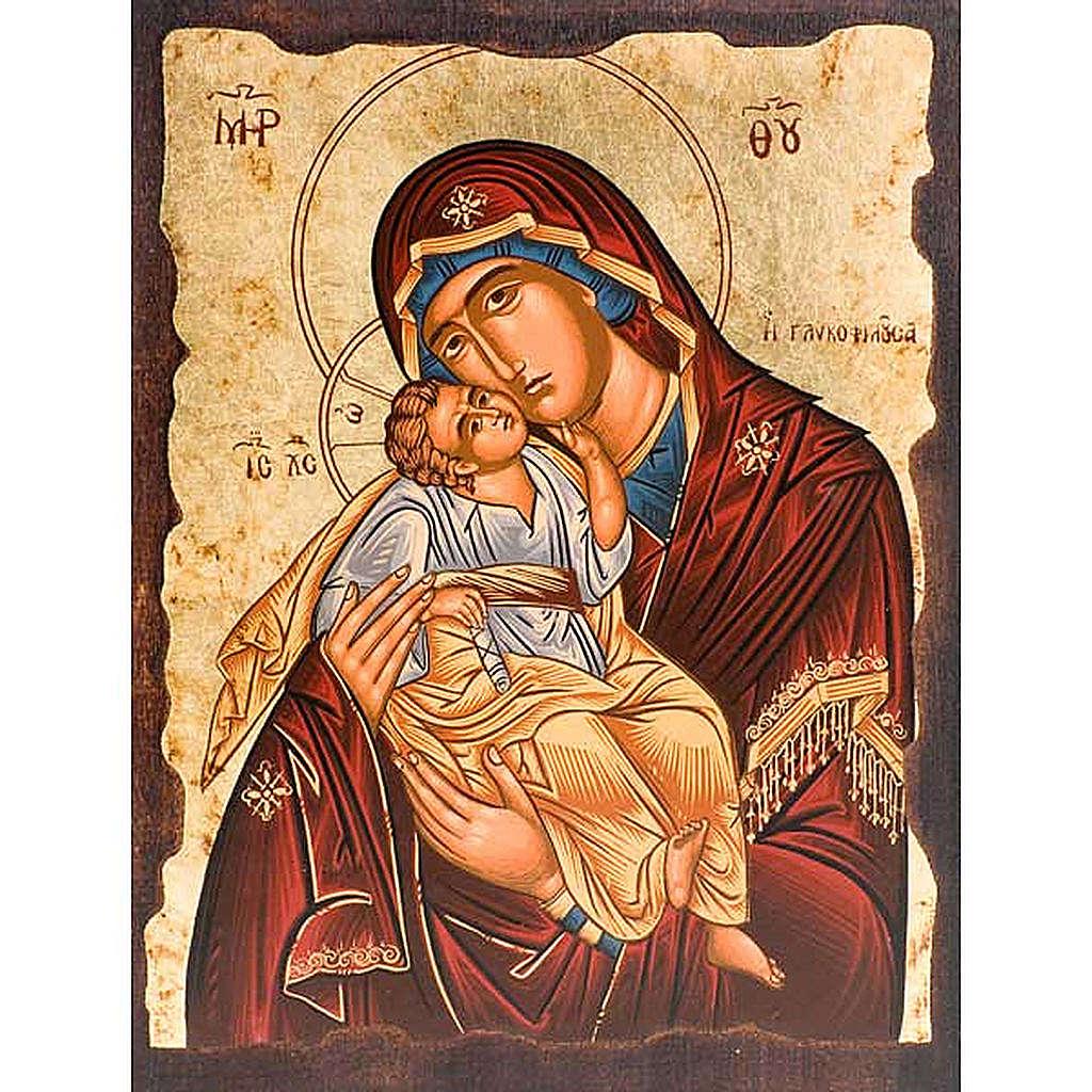 Icona Madre di Dio della tenerezza manto rosso 4