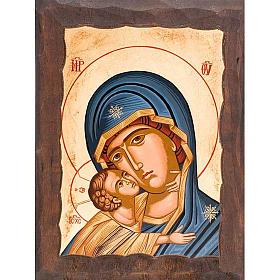 Icona Madre di Dio della tenerezza veste blu s1