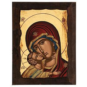 Icona Madre di Dio della tenerezza manto rosso s1