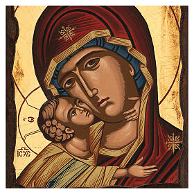 Icona Madre di Dio della tenerezza manto rosso s2