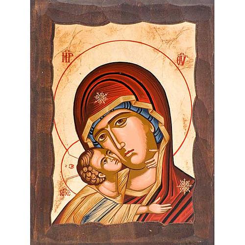 Icona Madre di Dio della tenerezza manto rosso 1