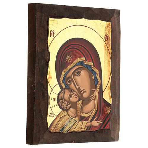 Icona Madre di Dio della tenerezza manto rosso 3