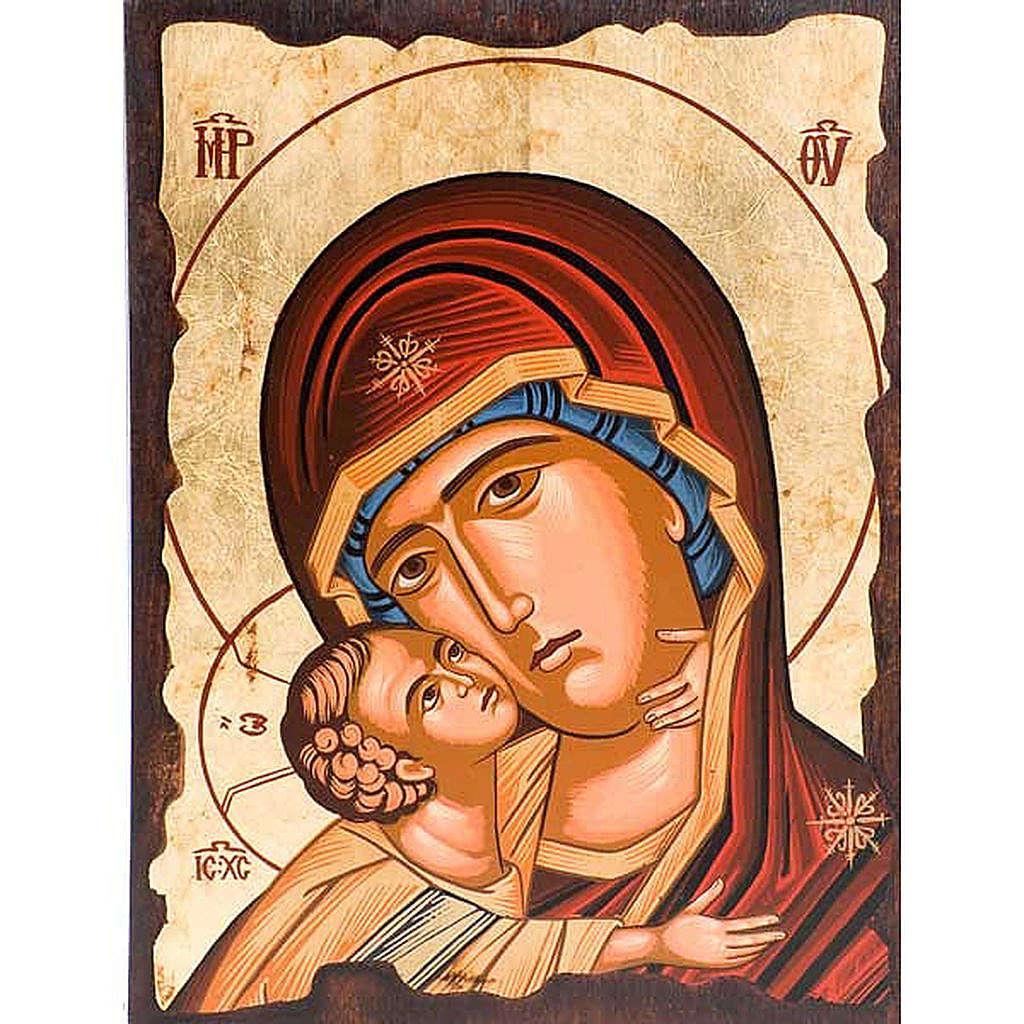 Icona Madre di Dio della tenerezza veste rossa 4